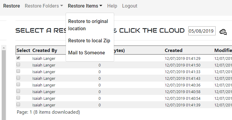 CloudCover 365 restore portal for Microsoft Office 365 backup