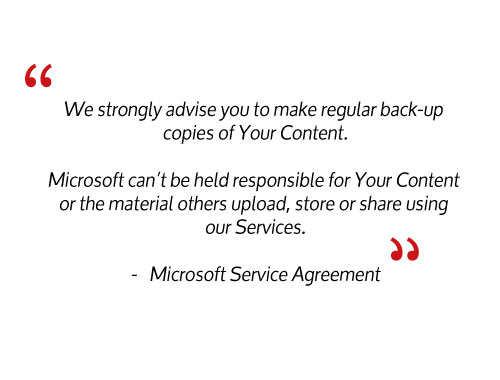 Microsoft shared responsibility model and microsoft office 365 backup